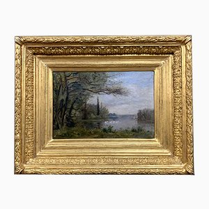 French School Painting, Landscape Lake & Animated Swans