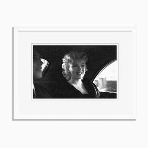 Marilyn Monroe in New York Taxi Cab Silver Gelatin Resin Print Framed in White by Ed Feingersh