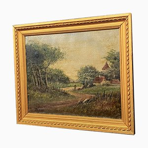 Barbizon School Painting by HC Darn, The Path to the Village