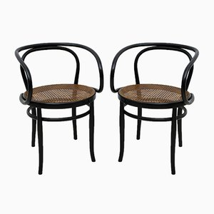 Curved Beech & Straw Dining Chairs by Michael Thonet for Thonet, 1920s, Set of 2