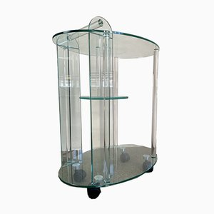 Vintage Glass Serving Bar Cart