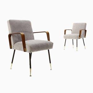 Grey Velvet Armchairs from Arflex, 1950s, Set of 2