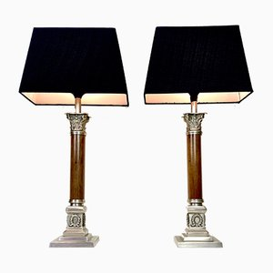 French Empire Style Engraved Metal Table Lamps, 1950s, Set of 2