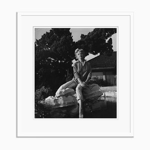 Marilyn Monroe Wearing Striped Capri Pants Silver Gelatin Resin Print Framed in White by Baron