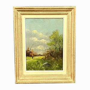 Barbizon School Painting by William Barr, the Path In the Animated Clearing