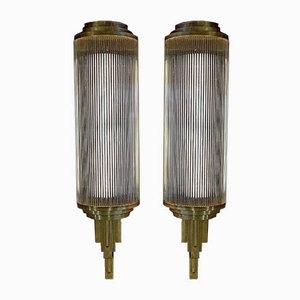 Große Art Deco Wandlampen aus Messing & Glas, 1920er, 2er Set