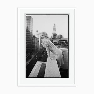 Marilyn Monroe on the Roof Silver Gelatin Resin Print Framed in White by Ed Feingersh