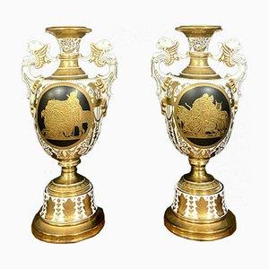 Mid-Century Empire Gilt Porcelain Vases, Set of 2