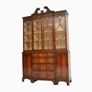 Antique Mahogany Breakfront Bookcase, 1920s