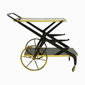 Lacquer, Brass & Wood Bar Table by Cesare Lacca, 1960s