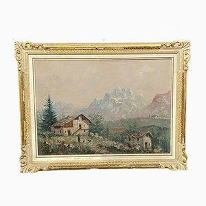 Painting by Antoni Louis Ferdinand, Alpine Village in Piedmont