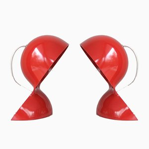 Vintage Dalu Table Lamps in Red by Vico Magistretti for Artemide, 1960s, Set of 2