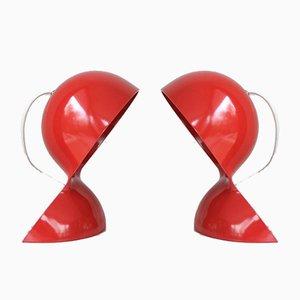 Vintage Dalu Tischlampen in Rot von Vico Magistretti für Artemide, 1960er, 2er Set