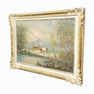 Painting by Antoni Louis Ferdinand, Lake Landscape in Piedmont