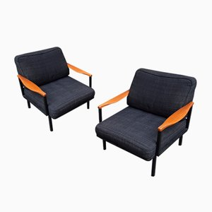 Model P24 Iron & Wood Lounge Chairs by Osvaldo Borsani for Tecno, 1970s, Set of 2