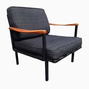 Model P24 Iron & Wood Lounge Chair by Osvaldo Borsani for Tecno, 1970s