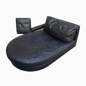 Black Leather Daybed by Antonio Citterio for B&B Italia / C&B Italia, 1980s