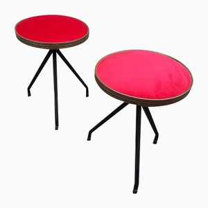 Red Ottomans with Iron Details, 1950s, Set of 2