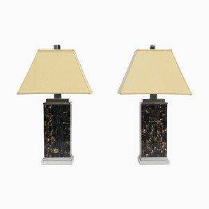 Art Deco Tesselierte Chrom Tischlampen, 1970er, 2er Set