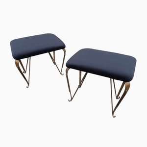 Brass & Black Velvet Ottomans, 1950s, Set of 2