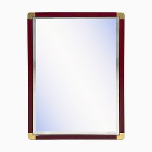 Burgundy Lacquered and Brass Bevelled Mirror, 1970s