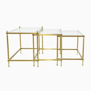 Vintage Gilded Brass Nesting Tables, Set of 3