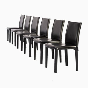 Italian Leather Dining Chairs from Arper, 1980s, Set of 6