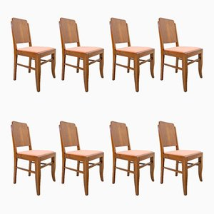 Art Deco Portuguese Dining Chairs, 1930s, Set of 8