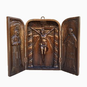 French Antique Hand Carved Walnut Wood Religious Triptych or Carved Wall Sculpture Panel, 1890s