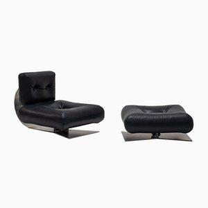 Sillón vintage y otomana de Oscar Niemeyer. Juego de 2