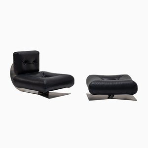 Vintage Lounge Char & Ottoman by Oscar Niemeyer, Set of 2