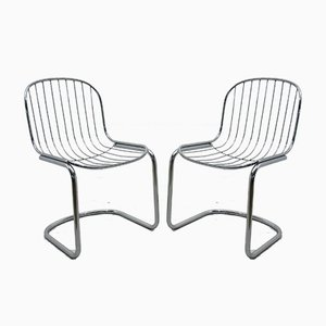 Metal Side Chairs, 1980s, Set of 2
