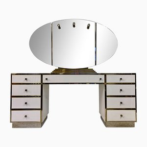 White Plexiglas, Brass and Chrome Dressing Table by Michel Pigneres, 1970s