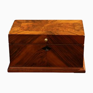Neoclassical Biedermeier Decorative Box in Walnut Veneer, South Germany, 1840s