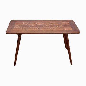 Tavolino da caffè in quercia con intarsi, anni '60