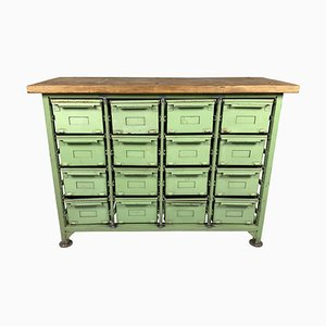 Vintage Industrial Filing Cabinet with Iron Drawers & Wooden Top, 1950s