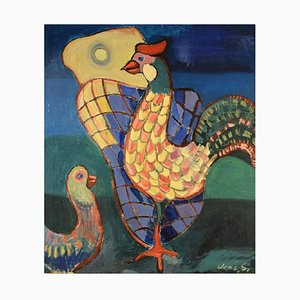 Danish Rooster and Chicken Oil on Canvas
