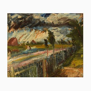 Danish Expressionist Landscape Oil on Canvas by Edvard Borregaard