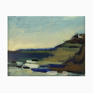 Swedish Modernist Landscape Oil on Canvas by Nils Ingvar Walterström