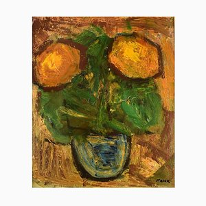 Modernist Still Life with Flowers Oil on Canvas by Gösta Falck, 1960s