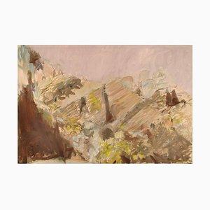 Swedish Modernist Landscape Oil on Canvas, 1980s
