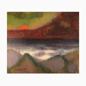Modernist Landscape with Sunset Oil on Board by Knud Horup, Denmark, 1960s