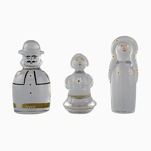 Figures in Art Glass the Family by Göran Wärff for Kosta Boda, 1970s, Set of 3