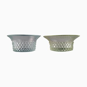 Bowls in Art Glass with Budded Design by Saara Hopea for Nuutajärvi, 1960s, Set of 2