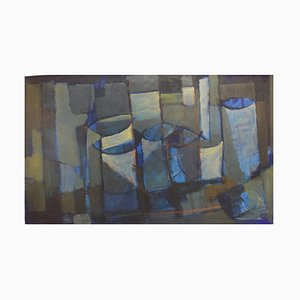 Large Swedish Abstract Composition Oil on Canvas by Hugo Ståhle