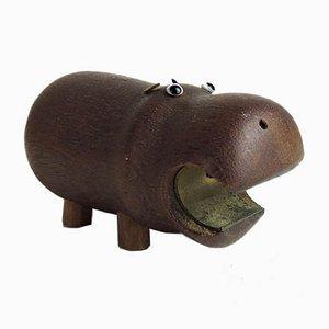 Danish Wooden Hippopotamus Bottle Opener, 1960s
