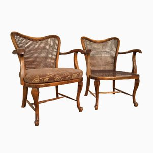Wood and Rattan Armchairs, Set of 2