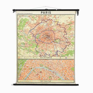 Vintage Paris Map from Westermann, 1960s