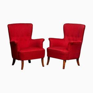 Fuchsia Easy or Lounge Chairs by Carl Malmsten for OH Sjogren, 1940s, Set of 2