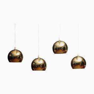 Swedish Brass Spherical or Globe Shape Pendant Lamp, 1970s